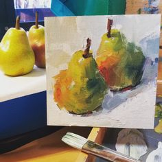 of Pears, impressionistic painting, oil painting, artist Gina Brown Simple Oil Painting, Fruit Painting, Oil Painting Abstract, Watercolor Paintings, Diy Artwork, Brown Art, Impressionist Paintings, Fruit Art, Acrylic Art