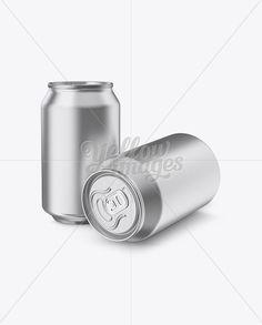 Two 330ml Metallic Aluminium Cans Mockup