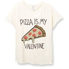 Womens Boho Pizza Is My Valentine Heart Gift Tee Tumblr Vintage Retro... found on Polyvore featuring tops, t-shirts, shirts, tees, white, women's clothing, heart t shirt, cotton tee, short sleeve tops and short sleeve t shirt