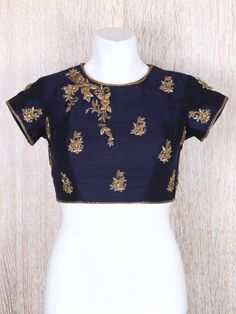 Navy Silk Designer Ready Made Blouse