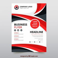 Modern business flyer template with abstract style Free Vector Brochure Cover Design, Free Brochure, Graphic Design Brochure, Corporate Brochure Design, Corporate Flyer, Business Brochure, Book Cover Design, Brochure Template, Free Flyer Design