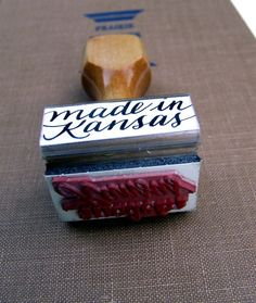 Made in Kansas Calligraphy Stamp for card by KisforCalligraphy