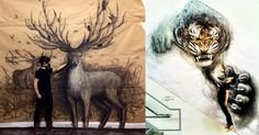 """""""Vancouver-based artist Fiona Tang creates large-scale murals of animals using charcoal, chalk pastel, and acrylic on paper that at first glance appear 3D. Tang makes use of a technique called trompe l'oeil where shadows and perspective within the two dimensional drawing are used to trick the viewer into thinking the piece is three dimensional."""""""