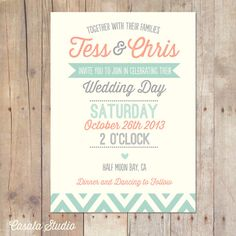 Rustic wedding invitation in peach and mint.