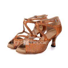 a3d0c57f Mujer Tela Elástica Zapatos de Baile Latino Pedrería / Hebilla / Corbata de  Lazo Sandalia / Tacones Alto / Zapatilla Tacón Carrete Personalizables Gris  ...