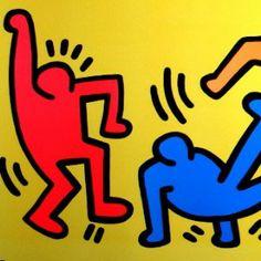 Keith HARING - Affiche d'art : La danse multicolore