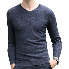 8bae842d95c1 100% Woolen Knitted Casual Sweater Solid Color V-neck Pullover Tops for Men