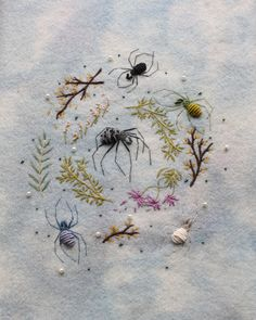 Adam Pritchett is a hand embroidery artist based in the Lake District, England. His work is focused around mystical, botanical,. Modern Embroidery, Embroidery Art, Cross Stitch Embroidery, Russian Embroidery, Garden Embroidery, Halloween Embroidery, Contemporary Embroidery, Coin Couture, Yule Goat