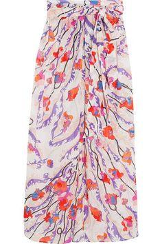 EMILIO PUCCI Ranuncoli printed cotton-voile maxi skirt. #emiliopucci #cloth #beachwear