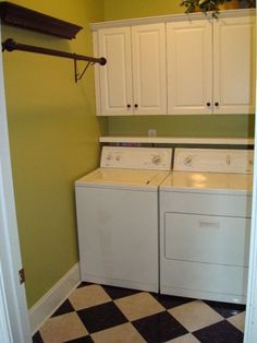 Small laundry room makeover- I like the hanging rack on the wall for hanging clothes & the shelf behind the washer dryer so nothing falls Laundry Room Shelves, Laundry Room Remodel, Small Laundry Rooms, Laundry Closet, Laundry Room Organization, Laundry Room Design, Organization Ideas, Organizing, Storage Ideas
