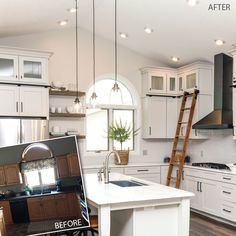 Can you believe your eyes! Talk about transformation—from dark and dated to light and timeless, this stunning space was designed by Kari Linbo of Route 1 Interiors, Ltd. (New Ulm, Minnesota) using 650 Painted Harbor. New Ulm, Painting Cabinets, Cabinet Doors, Hacks, Kitchen Remodel, Kitchen Decor, Living Spaces, Kitchen Cabinets, Ceiling Lights