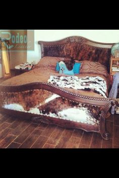 cracked wooden bed - upholstered with padded cowhide headboard and footboard - Rodeo Leather Cowhide Decor, Cowhide Furniture, Western Furniture, Cabin Furniture, Furniture Ideas, Furniture Design, Refurbished Furniture, Western Style, Western Decor