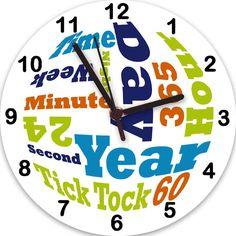 Boys Text Clock,Boys Clock,Non Ticking Clock,Kids Room Clock,Tell the time Clock,Nursery Clock,Kids Clocks by TigerlilyprintsLtd on Etsy