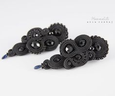 Extremely elegant, black earrings execution manually using soutache. Earrings are ideal for evening dress but also can be successfully wear them every