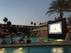 """Dive In Movies"" at the Phoenician Resort at the base of Camelback Mt. What a great way to stay cool in the summer heat in the desert."