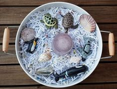 Sea creatures in shredded paper Kmart play tray