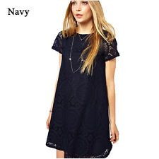 Sexy Women's Summer Lace Short Sleeve Cocktail Evening Party Mini Dress Navy L #dresses #fashion #style #women #trend
