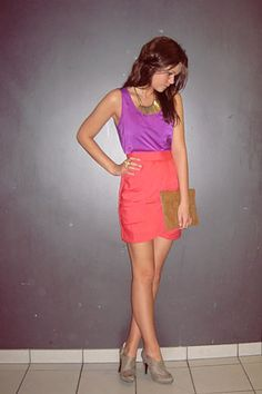 Easy summer outfit. Bright tank, bright skirt, nude heels and a statement necklace.