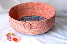 Autumn Bowl, Peach Cat Bed, Handmade Coral Batik Basket, Modern Apricot Pet Bed, Peach and Teal Batik Fabric Basket, Dog Bed - pinned by pin4etsy.com
