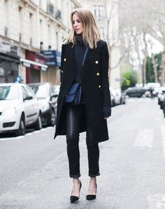 structured military jacket with black outfit