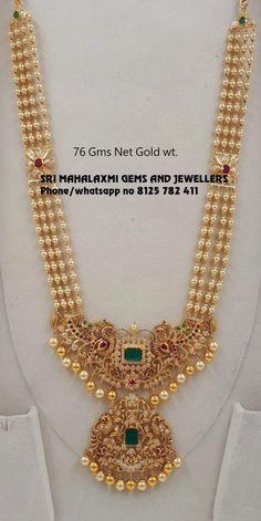 Light wt long harams new designs. Presenting 76 gm net Gold wt haram . Visit us for best designs at most attractive prices phone no 8125 782 411 Pearl Necklace Designs, Jewelry Design Earrings, Gold Earrings Designs, Gold Bangles Design, Gold Jewellery Design, Bead Jewellery, Beaded Jewelry, Gold Necklace, Gold Haram Designs