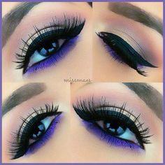 Love the pop of blue!! http://makeupbag.tumblr.com/