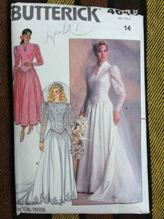 Butterick 4646 Misses' Wedding Gown Bridal Dress Sewing Pattern Size 14 Bust 36
