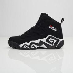 3950a506fd Men's Fila 95 Retro Basketball Shoes | FinishLine.com | Black/White ...