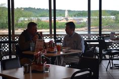 "Friday, May 3, 2013: ""Shop Where Your Heart Is"" cash mob at Josie's.  Randy Reichardt and John Dews enjoy their lunch."