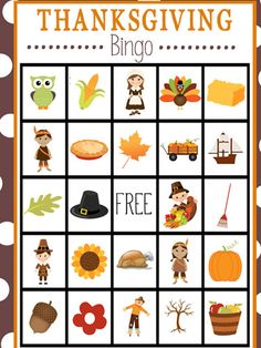Thanksgiving Bingo from 10 Kids' Thanksgiving Games You'll Be Grateful for (Woman's Day)