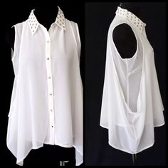 "D10 Asymmetrical Layered Flowing Ivory Top Blouse ‼️PRICE FIRM‼️   Fabulous must have wardrobe piece for year round wear.  Fabulous worn alone or under a jacket.  Dramatic flowing layers.  There is some stretch to this piece for a comfortable & perfect fit.  100% polyester. Please check my closet for many more listings including jewelry and scarves!!!  Measurements are taken with the garment lying flat.   Bust 41"" Length of garment 26"" in front & 32"" on the sides Potter's Pot Tops Blouses"