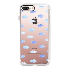 Blue Cloud on sky watercolor transparent case by imushstore  - iPhone... ($40) ❤ liked on Polyvore featuring accessories, tech accessories, iphone case, blue iphone case, iphone cases, transparent iphone case, iphone cover case and apple iphone case