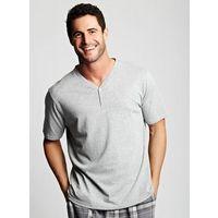 Grey marl cotton Y neck t-shirt 100% Cotton.