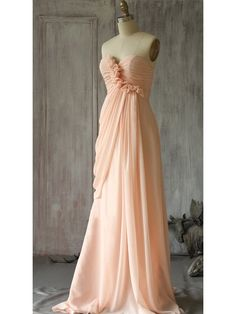 Sweep Train Graceful Sweetheart Pink Chiffon With Flower(s) Bridesmaid Dress - dressesofgirl.com