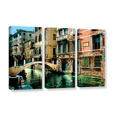 Venice Canal by George Zucconi 3 Piece Gallery-Wrapped Canvas Set
