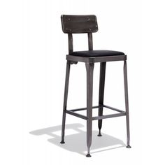Octane Bar Stool — For taking a seat at the soda fountain, your local speak-easy, or for your own retro-glam kitchen: The Octane Collection comes in a shiny gunmetal finish with a soft-upholstered leather seat.