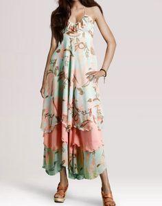 [$38.99] Bohemia Green Flower Lotus Sling Chiffon Dress Jumpsuit Skirt Oversize