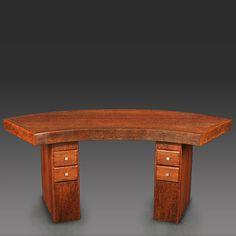 Curved Art Deco desk made of palmwood.