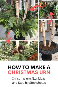 Rambling Renovators: How To Make An Outdoor Christmas Planter in 8 Easy Steps : DIY Christmas urn, Christmas urn filler, outdoor christmas urns, how to make christmas urn Christmas Urn Fillers, Christmas Tree In Urn, Outdoor Christmas Planters, Christmas Garden Decorations, Christmas Entryway, Rustic Christmas, White Christmas, Christmas Diy, Christmas Centrepieces