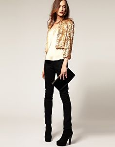 Image 4 ofMango Sequin Cardigan  GOLD CARDI WITH BEIGE DRESSES AND HOT PINK SHOES?