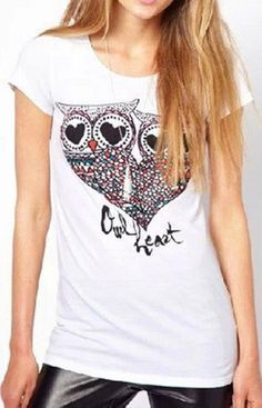 Owl Print White T-Shirt – Trendy Road