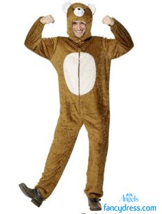 Bear all in this costume! This is a one piece jumpsuit with a attached soft fabric-sculpture headpiece.    http://www.fancydress.com/costumes/Bear-/0~4342071~12
