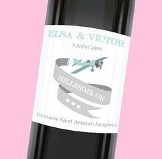 Etiquette de bouteille mariage élégante qui donnera une touche d'originalité à votre table, réf.N300961
