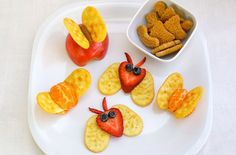 I like the strawberry ones and the tangerine but the apple one's would just fall apart.   fruit bug snacks, fun food for kids, party food