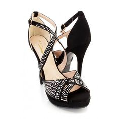 Black Rhinestone Peep Toe Ankle Strap Heels Nubuck ($16) ❤ liked on Polyvore featuring shoes and pumps