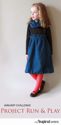 The January Challenge for Project Run & Play 2015: Flannel and knit tee-shirt dress with infinity scarf | The Inspired Wren