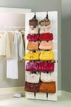 wardrobe organize bags colors konmari method by Best Closet Organization, Purse Organization, Closet Storage, Storage For Purses, Extra Storage, Organizing Purses In Closet, Bag Closet, Linen Storage, Bedroom Storage