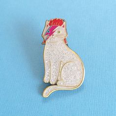 super cute gift idea or stocking stuffer— David Bowie Cat Enamel Pin - cat enamel pin - lapel pin - from @etsy