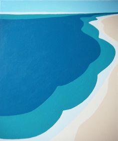 Painting Fine Art - Abstract Modern Hard Edged Beach, Aerial Ocean Shoreline - 24 x 20 in - FREE US SHIPPING. $59.00, via Etsy.