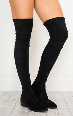 This flat over the knee black micro boot is definitely a winter staple for your wardrobe this season.